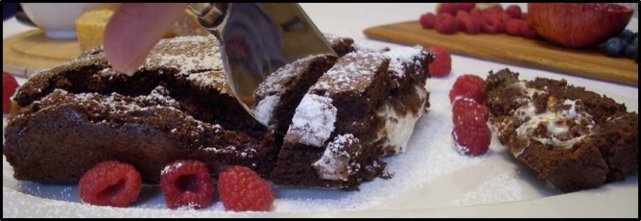 Chocolate Marron Roulâde with Raspberries